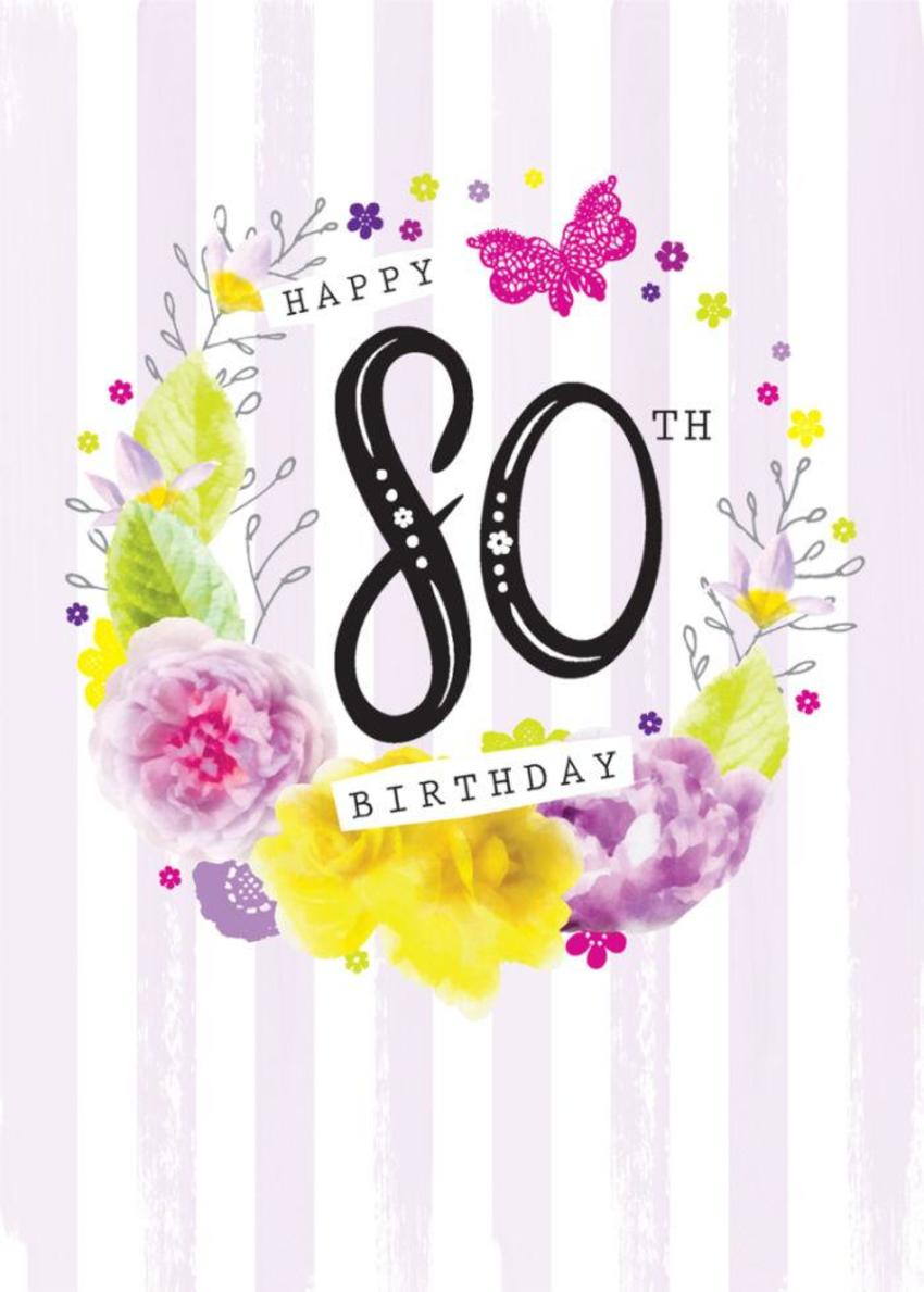 Age Birthday Milestone Big Number 80 80th In Floral Wreath