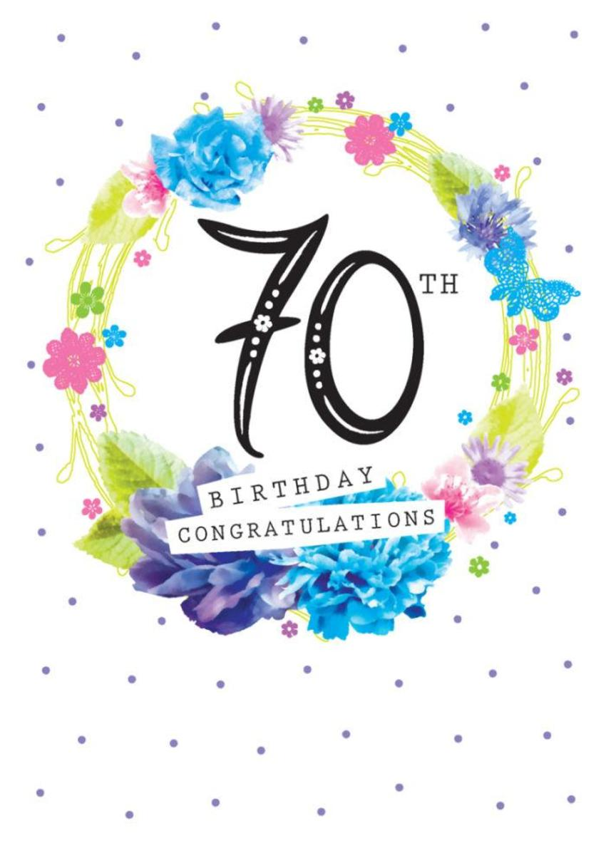 Age Birthday Milestone Big Number 70 70th In Floral Wreath