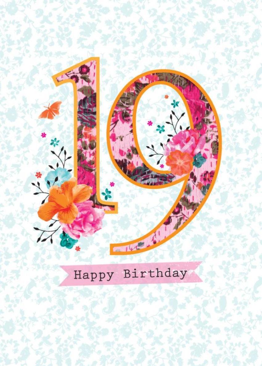 Age Birthday Milestone Big Number Patchwork 19