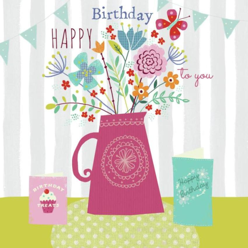 Birthday Floral Jug & Cards