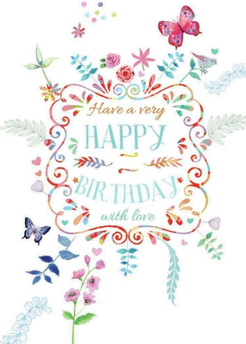 W Col Text Birthday Card