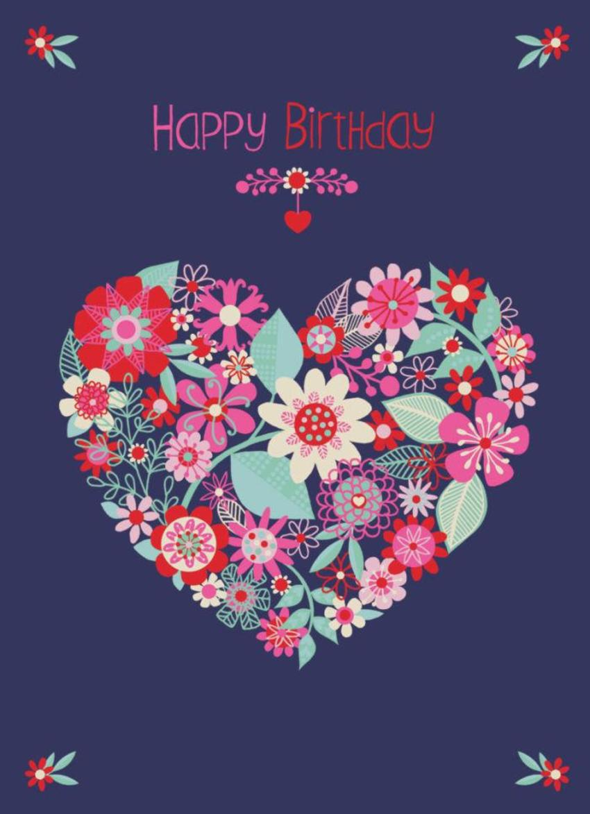 Modern Floral Birthday Heart