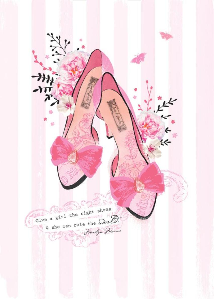 Female Wife Girlfriend Birthday Mothers Day Floral Flowers High Heel Stiletto Shoes On Pink Stripes