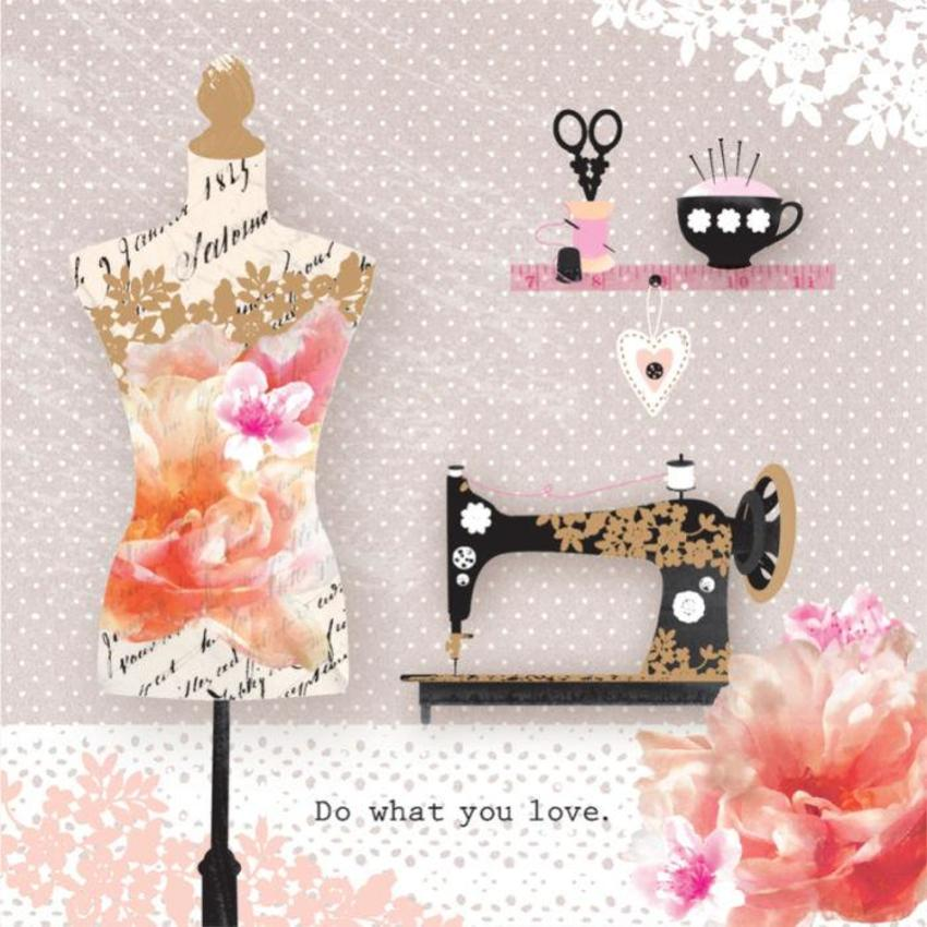 Female Birthday Mothers Day Inspirational Quote Floral Singer Sewing Machine With Bust