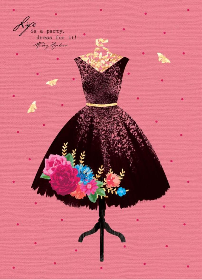 Fashion-illustration-female-birthday-wife-girlfriend-anniversary-50s-black-and-gold-dress-on-pink-5x7