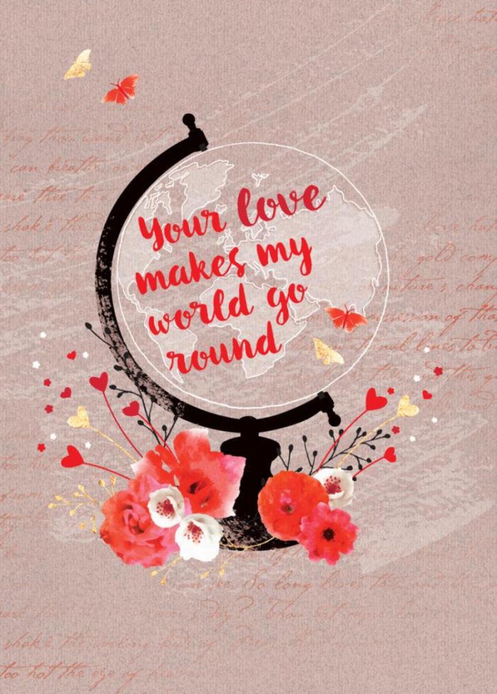 Valentines Day Anniversary Love Globe World Map