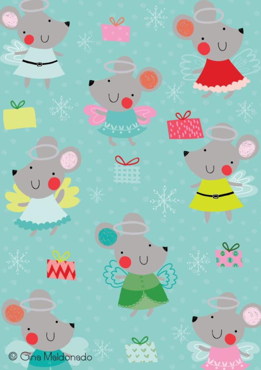 Christmas Angels Mice Pattern - GM