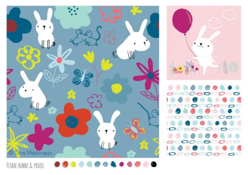 Floral Bunny And Mouse Pattern - GM