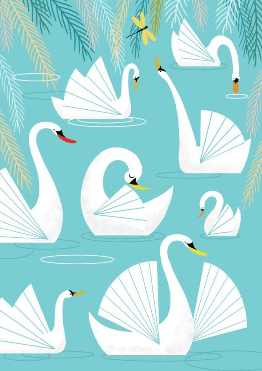 Retro Swans Blue
