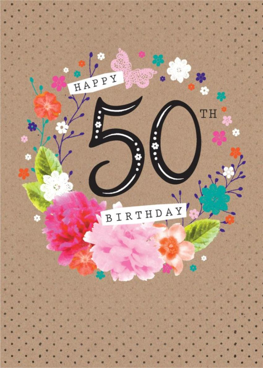 Age Birthday Milestone Big Number 50 50th In Floral Wreath