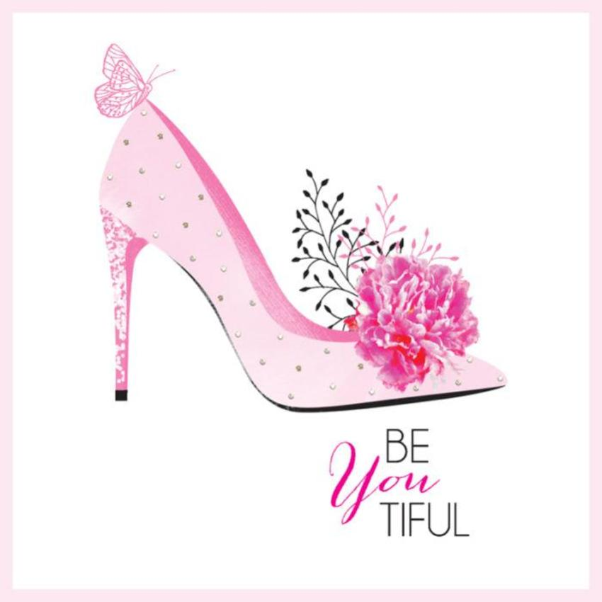 Female Birthday Mothers Day Teenage Teen 16 18 21 Beyoutiful Pink Shoe With Sparkles