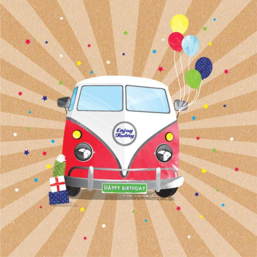 Male Birthday Fathers Day Brother Dad Grandfather Nephew VW Retro Van