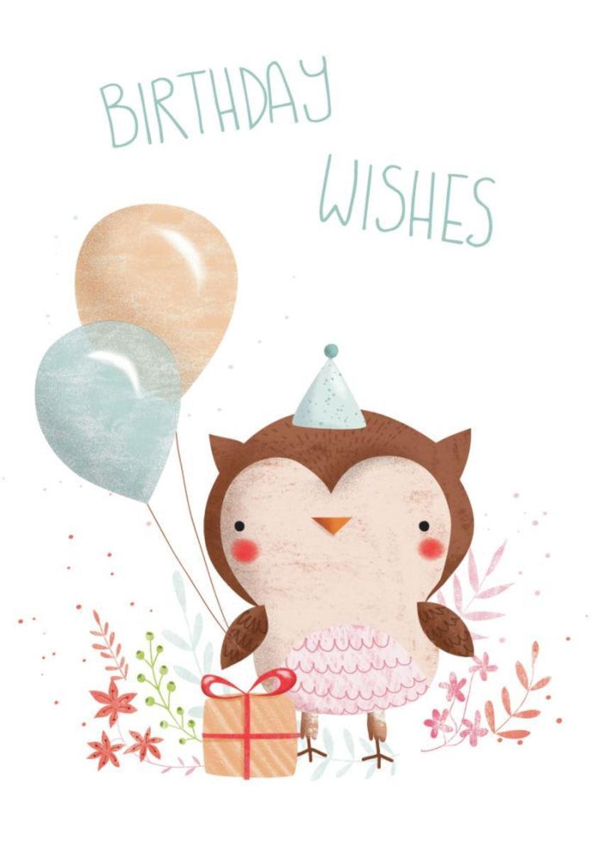 Flowery Owl - Birthday Wishes - GM