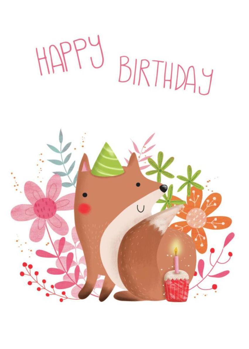Flowery Fox - Happy Birthday - GM