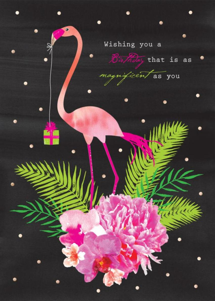 Female Birthday Floral Flamingo And Tropical Flowers