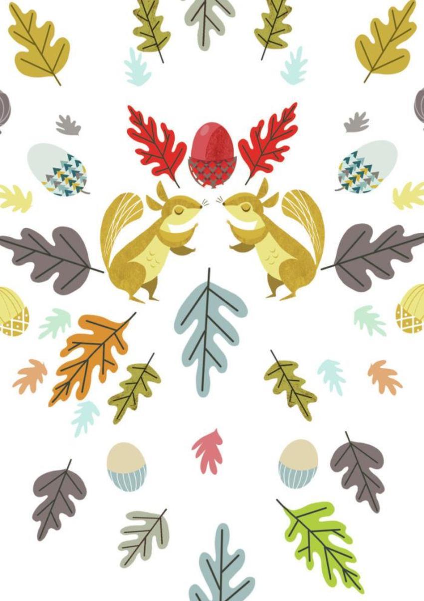 Retro Squirrels & Leaves