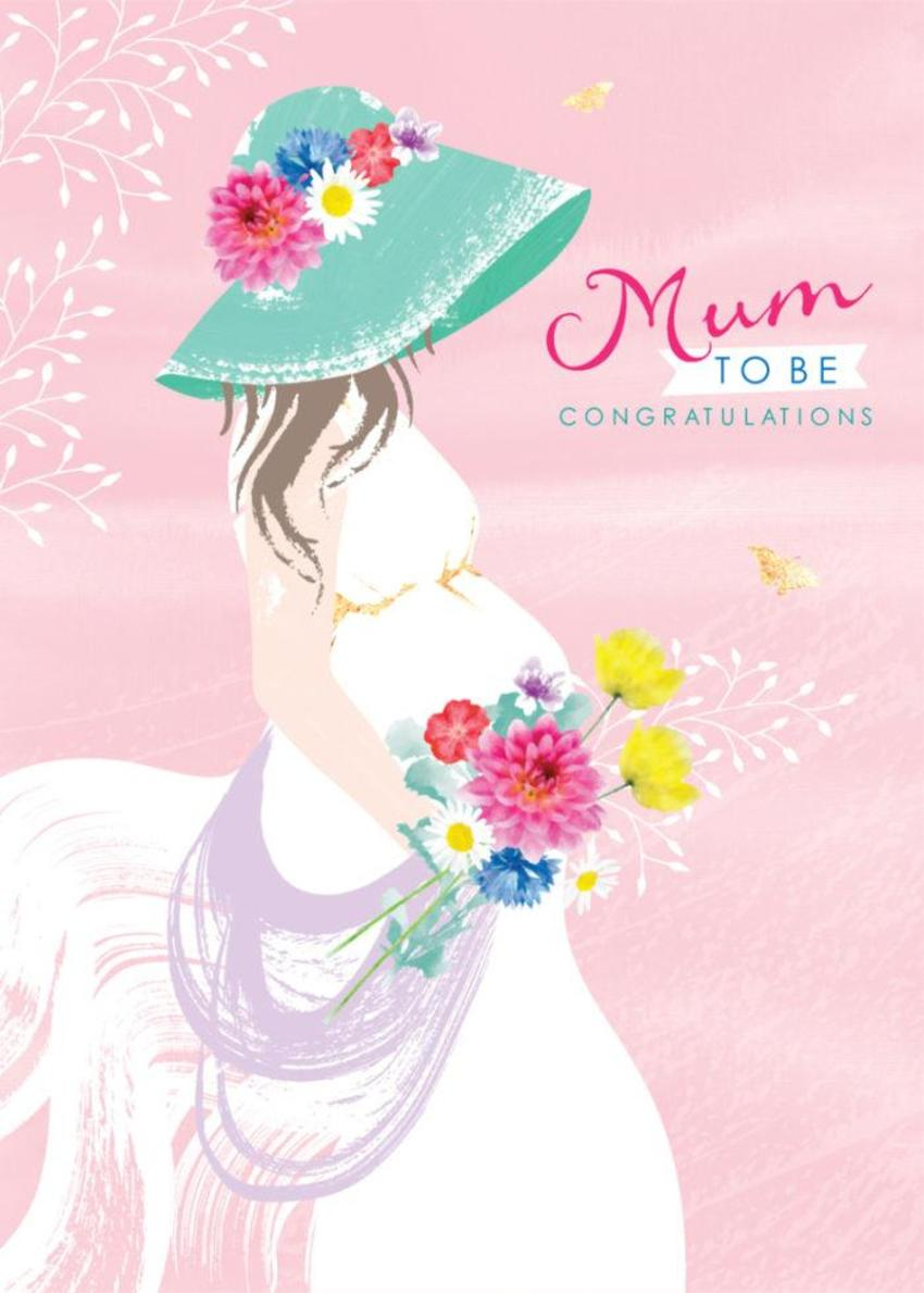 Mum To Be Baby Shower Mothers Day Pregant Lady With Flowers