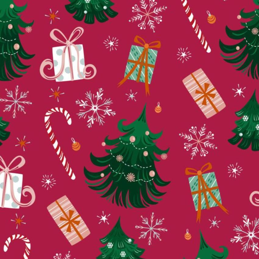 Christmas Trees And Candy Cane Pattern