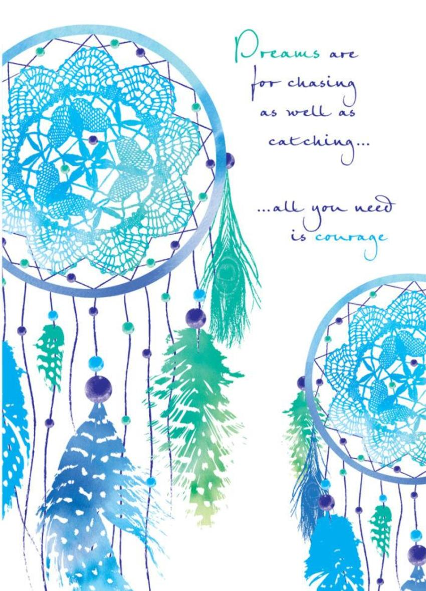 Inspirational Motivational Quote Saying Dream Catchers In Blue