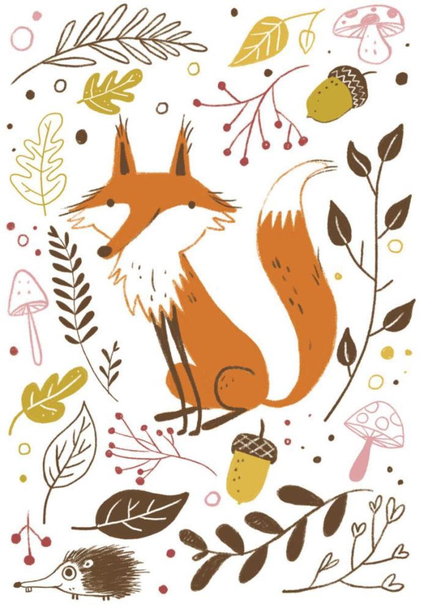 Fox Floral Autumn Fall