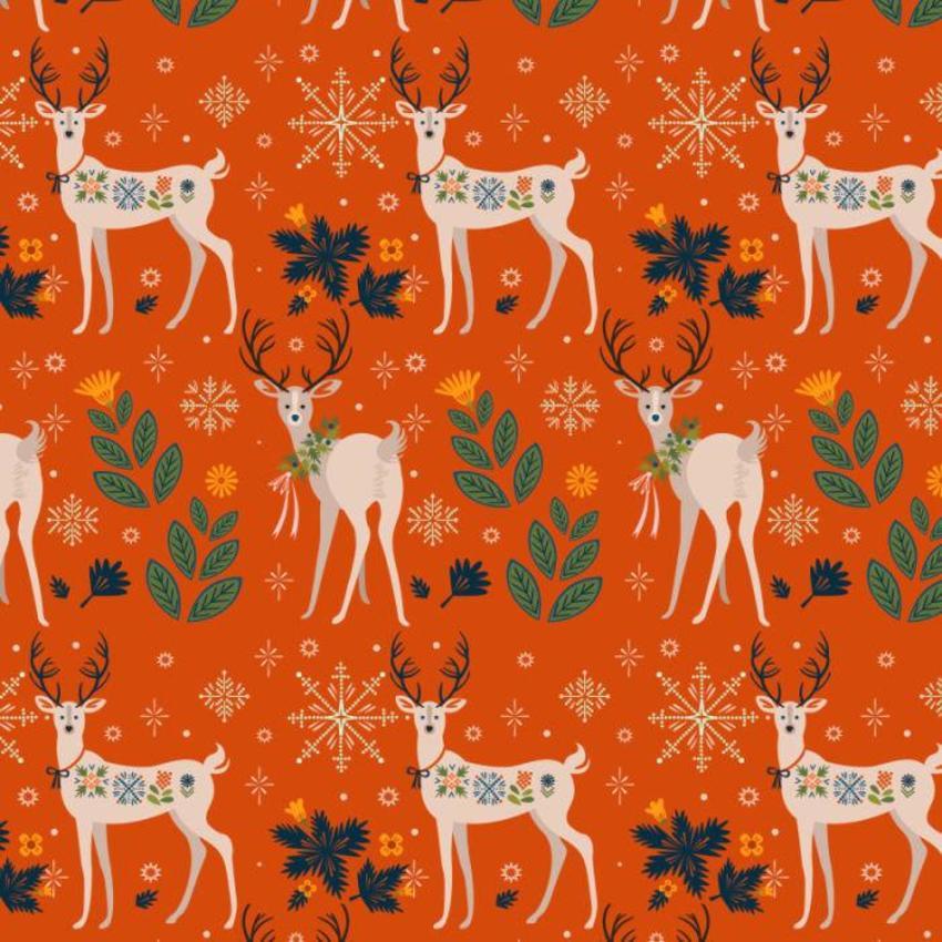 Christmas Deer And Snowflake Pattern
