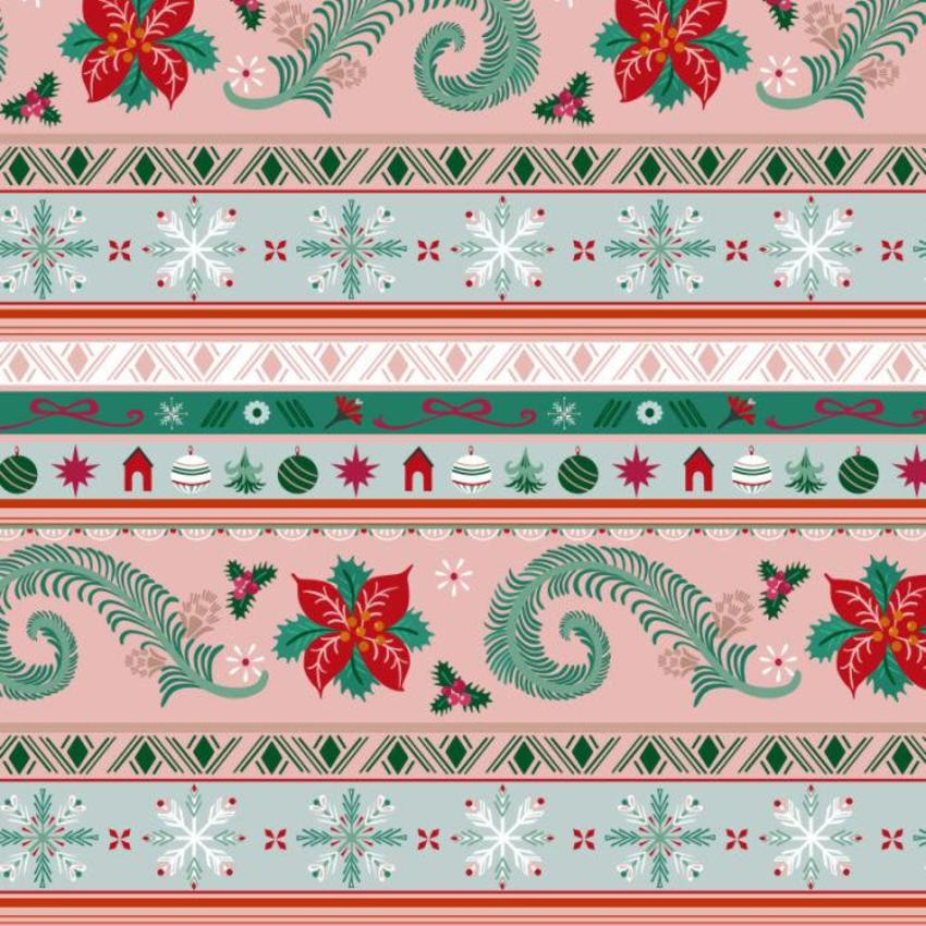Christmas Ornament And Snowflake Stripes