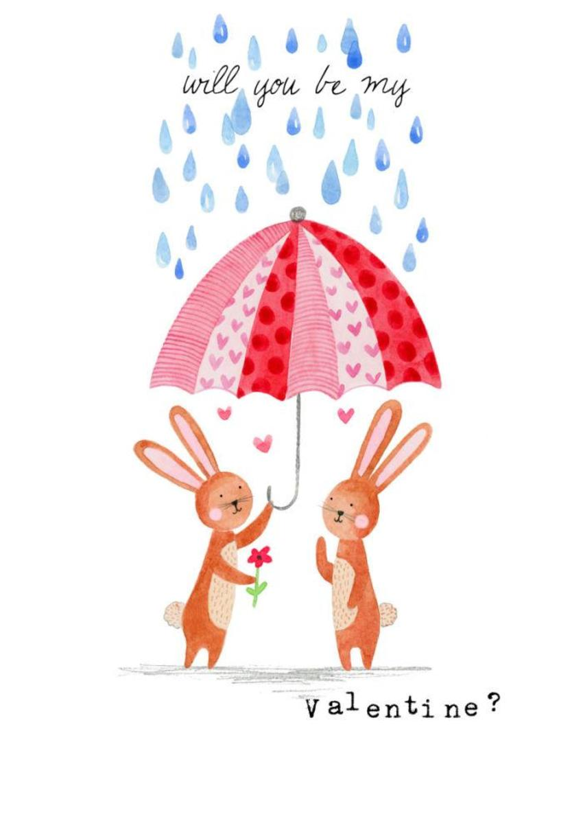 Felicity French Valentines Bunnies Under Umbrella