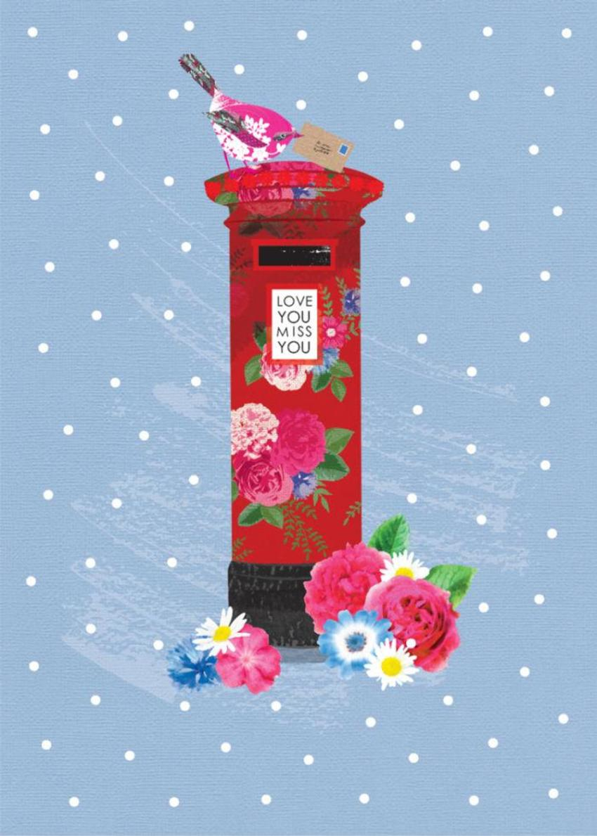Miss You Love You Valentines Day English UK Post Box With Flowers