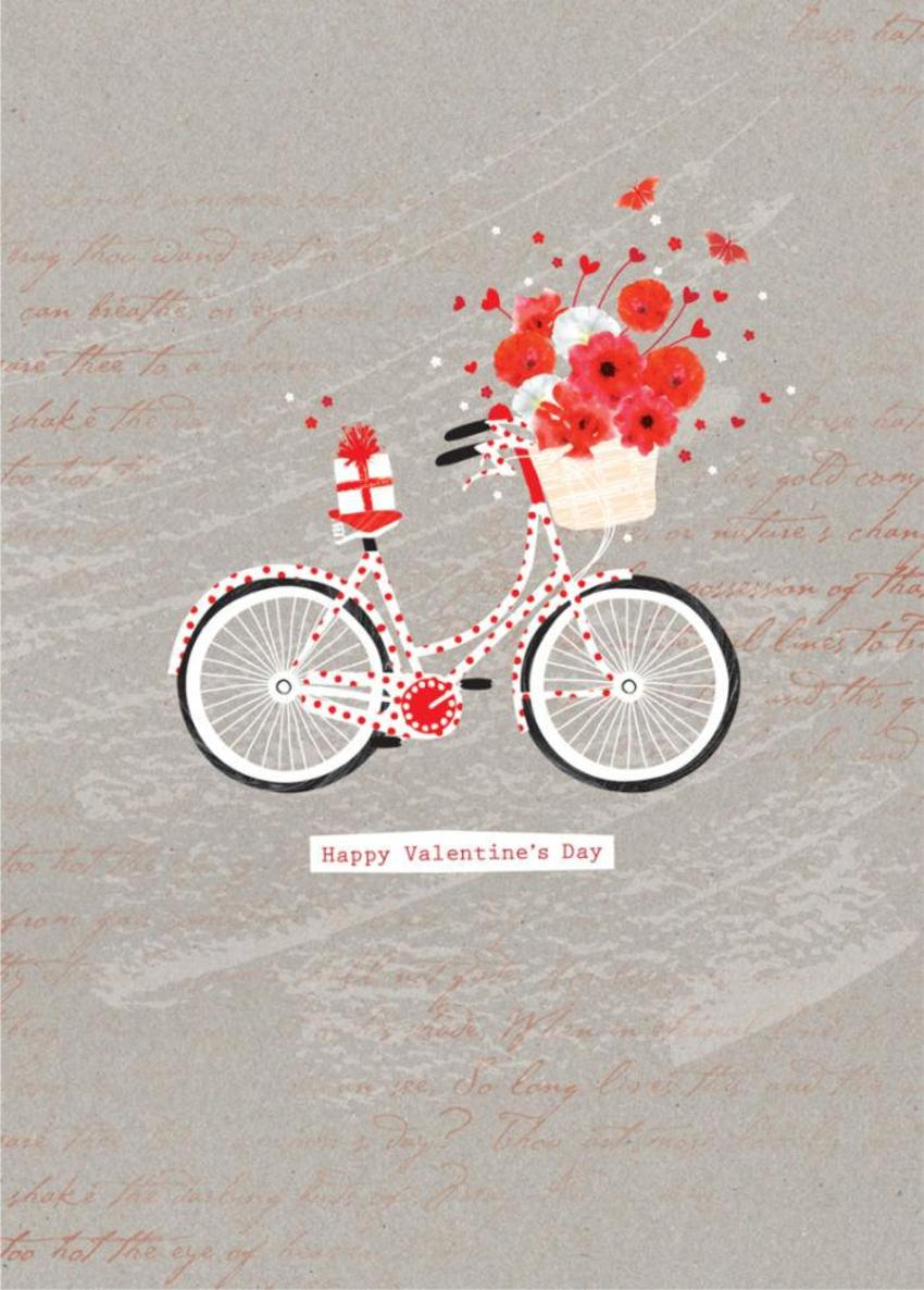 Love Valentines Day Female Birthday Bike With Flowers And Present