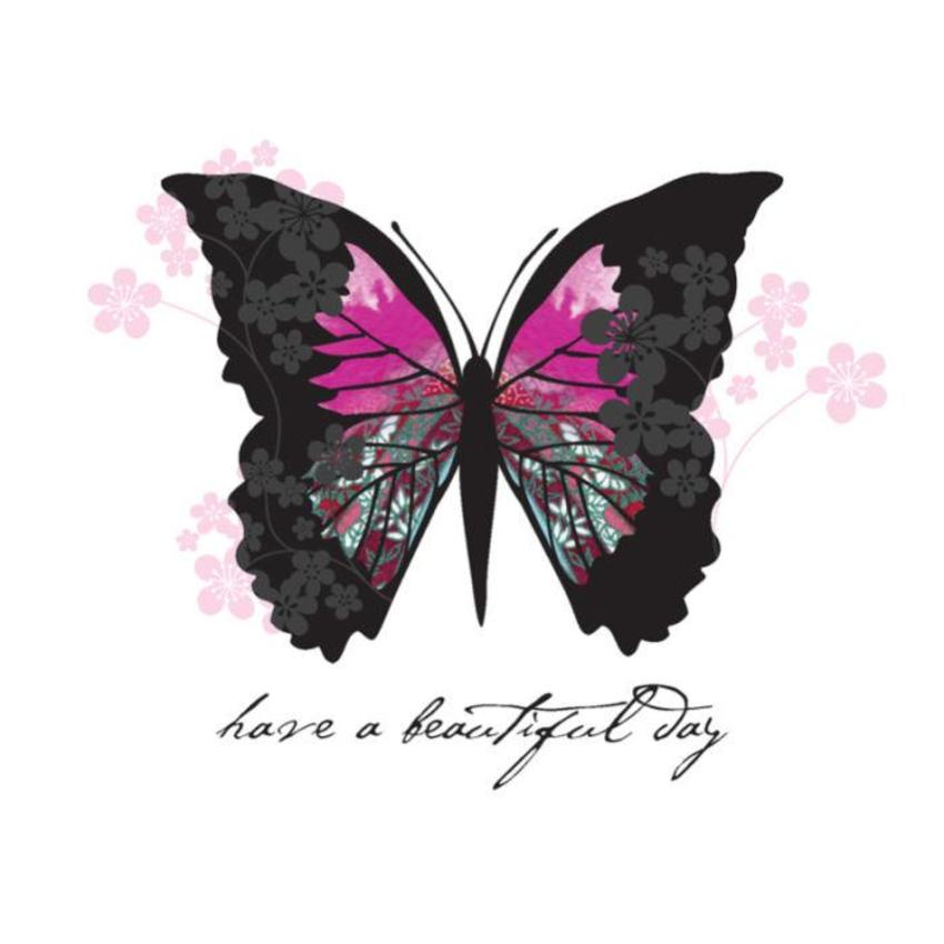 Female Birthday Leaving Goodbye And Goodluck Bon Voyage Bright Pink Butterfly