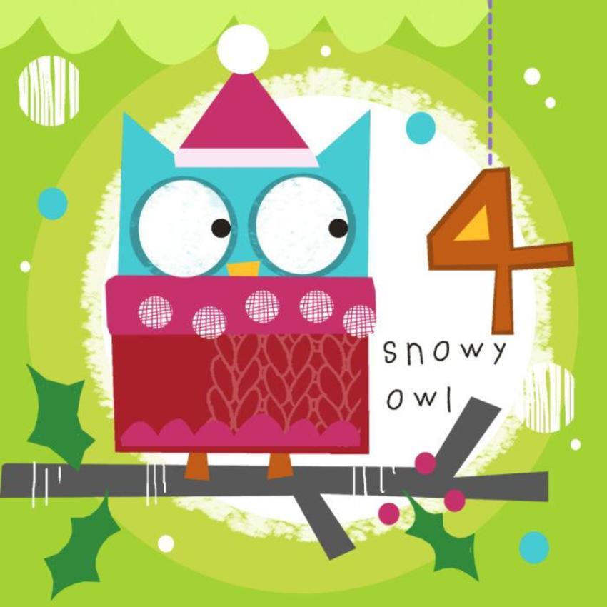 4 Jayne Schofield Christmas Owl On Branch Advent