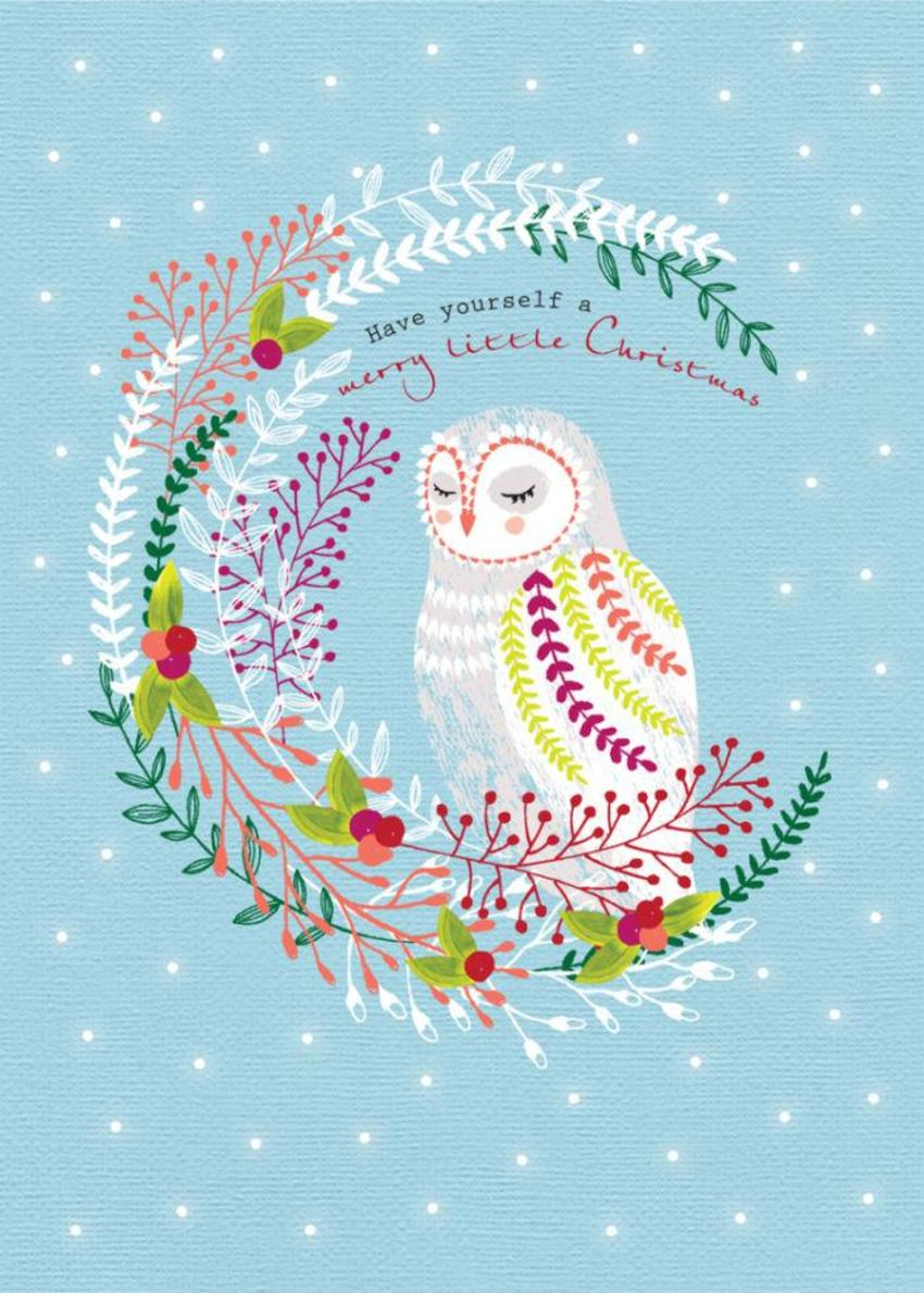 Christmas Owl In Floral Wreath