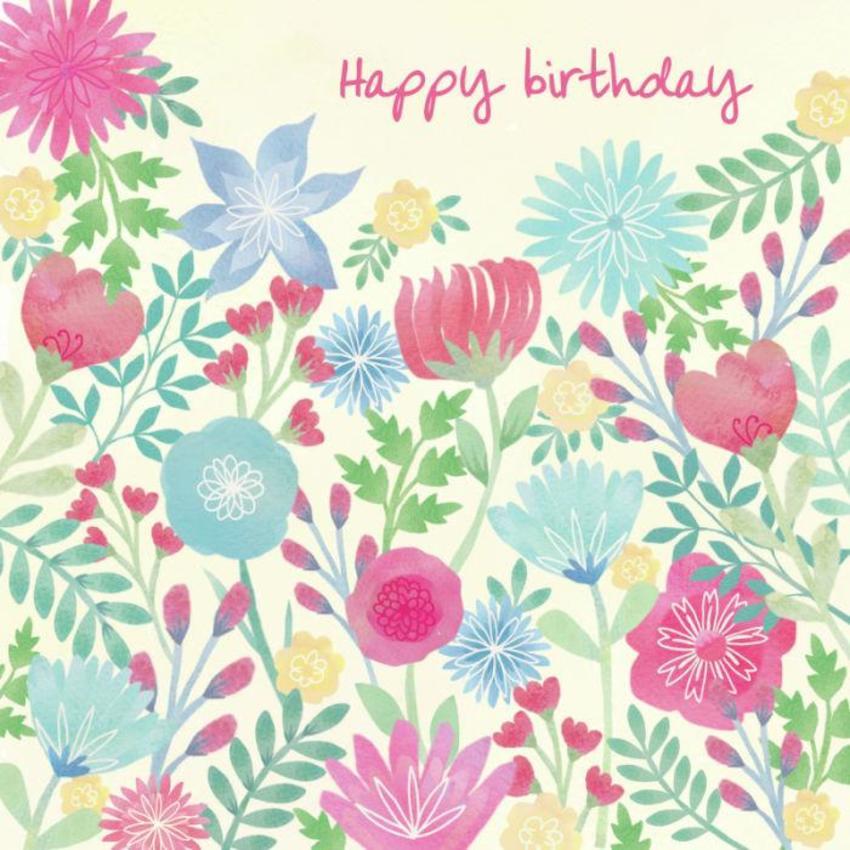 Watercolour Flowers Birthday