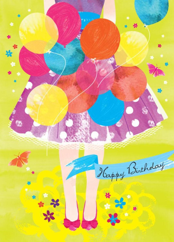 Female Birthday Teenage Birthday 16th 18th 21st Girl With Balloons