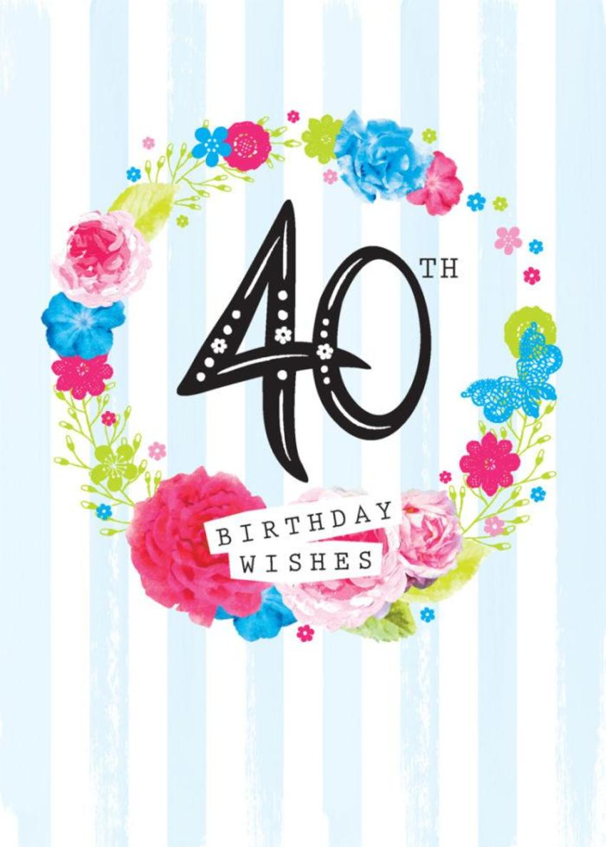 Age Birthday Milestone Big Number 40 40th In Floral Wreath