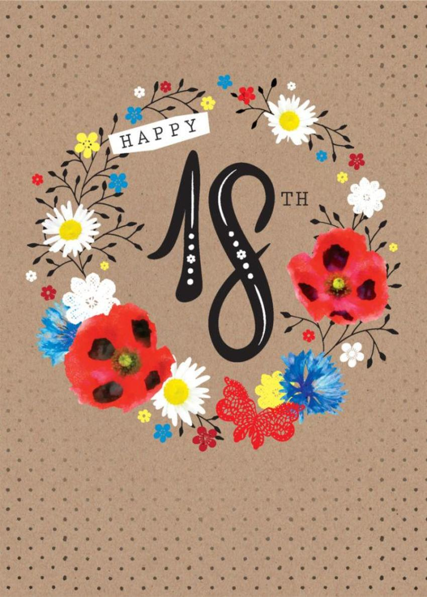 Age Birthday Milestone Big Number 18 18th In Floral Wreath
