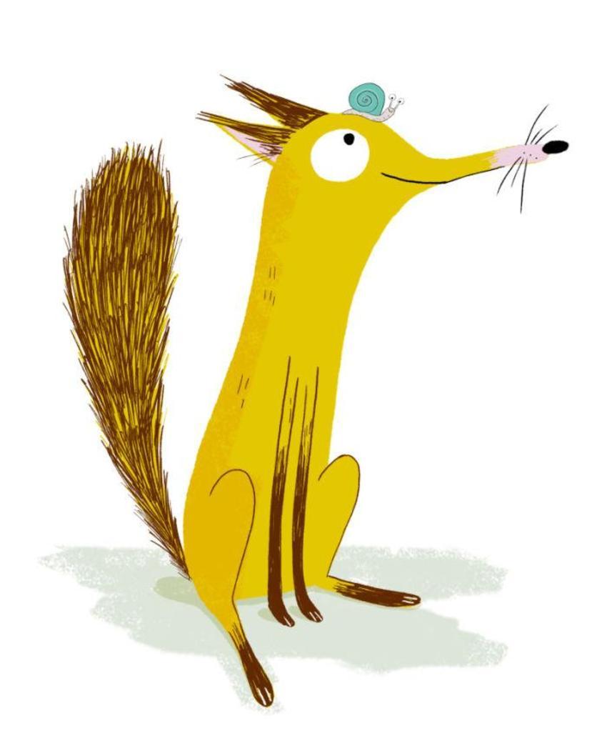 Character Cute Snail Fox Animal Friendship