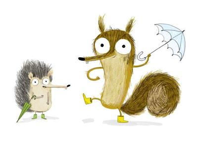 characters-animal-squirrel-hedgehog-cute-rain-rainy-umbrella-funny-funny-boots