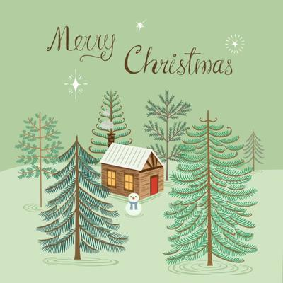 christmas-cabin-and-pine-forest
