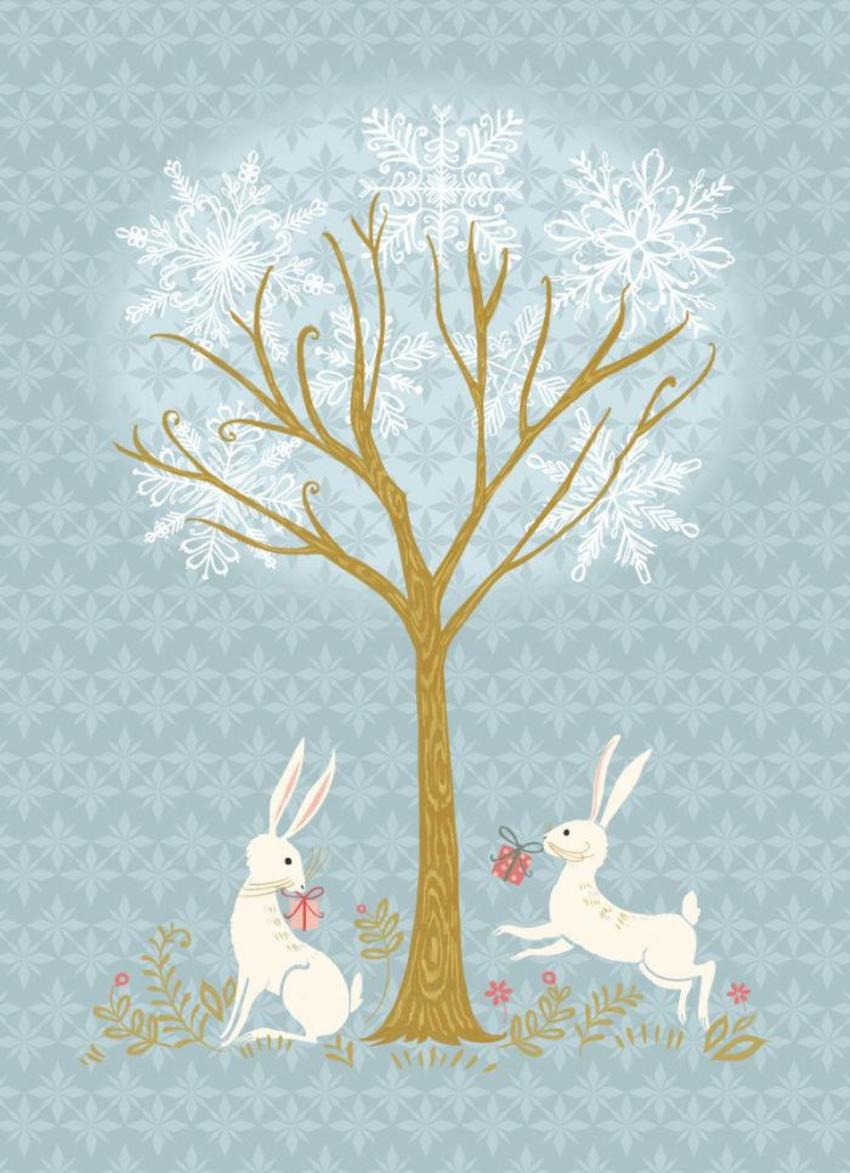Bunnies And Snowflakes Tree