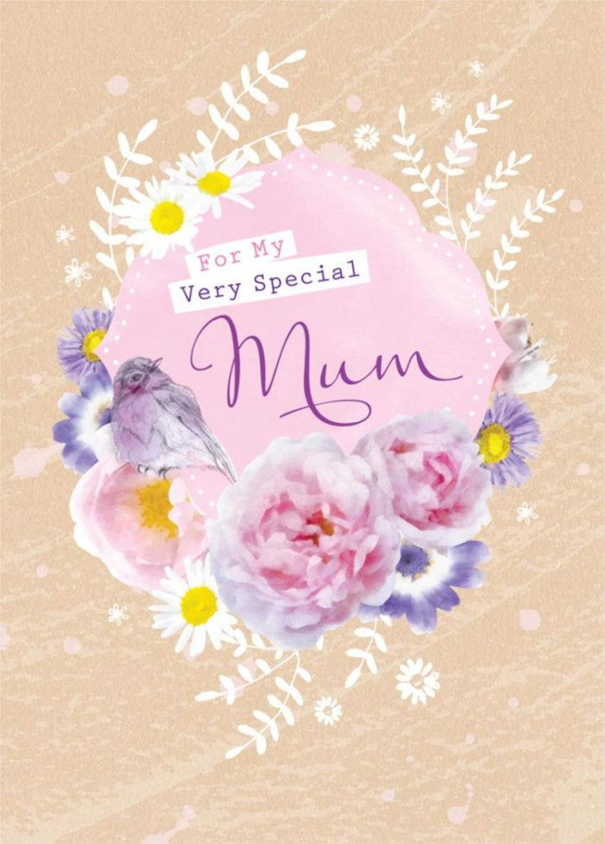 Female Birthday Mothers Day Floral Thinking Of You Bird With Flowers