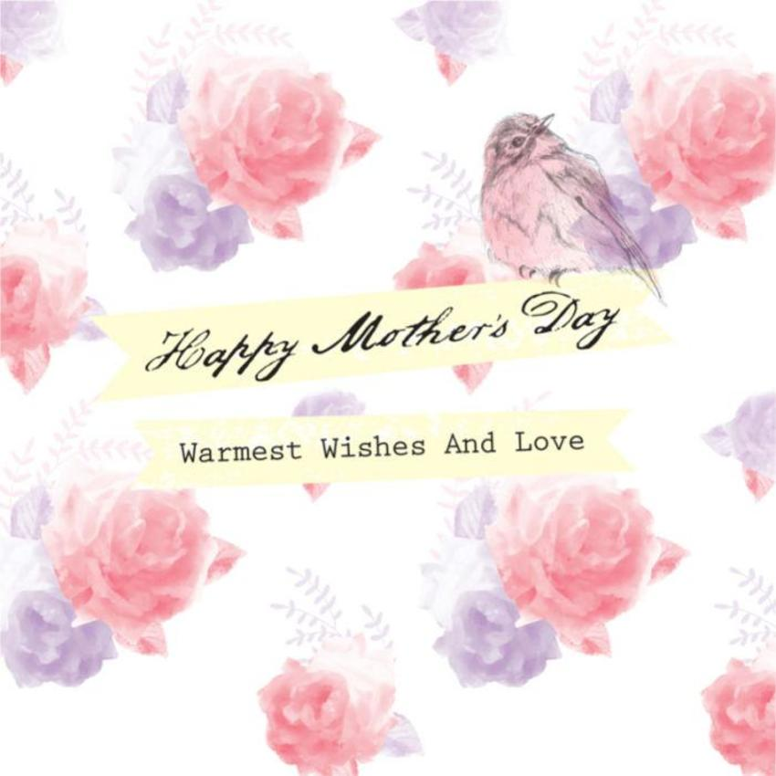 Female Birthday Mothers Day Thinking Of You Bird On Floral Flowers Background