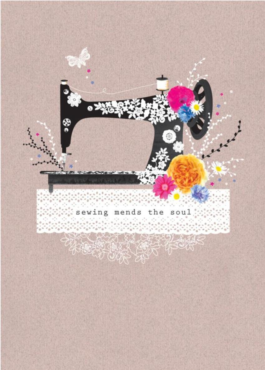 Female Birthday Mothers Day Inspirational Quote Floral Singer Sewing Machine With Flowers