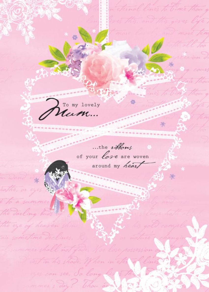 Female Birthday Mothers Day Love Anniversary Valentines Day Floral Bird On Love Heart