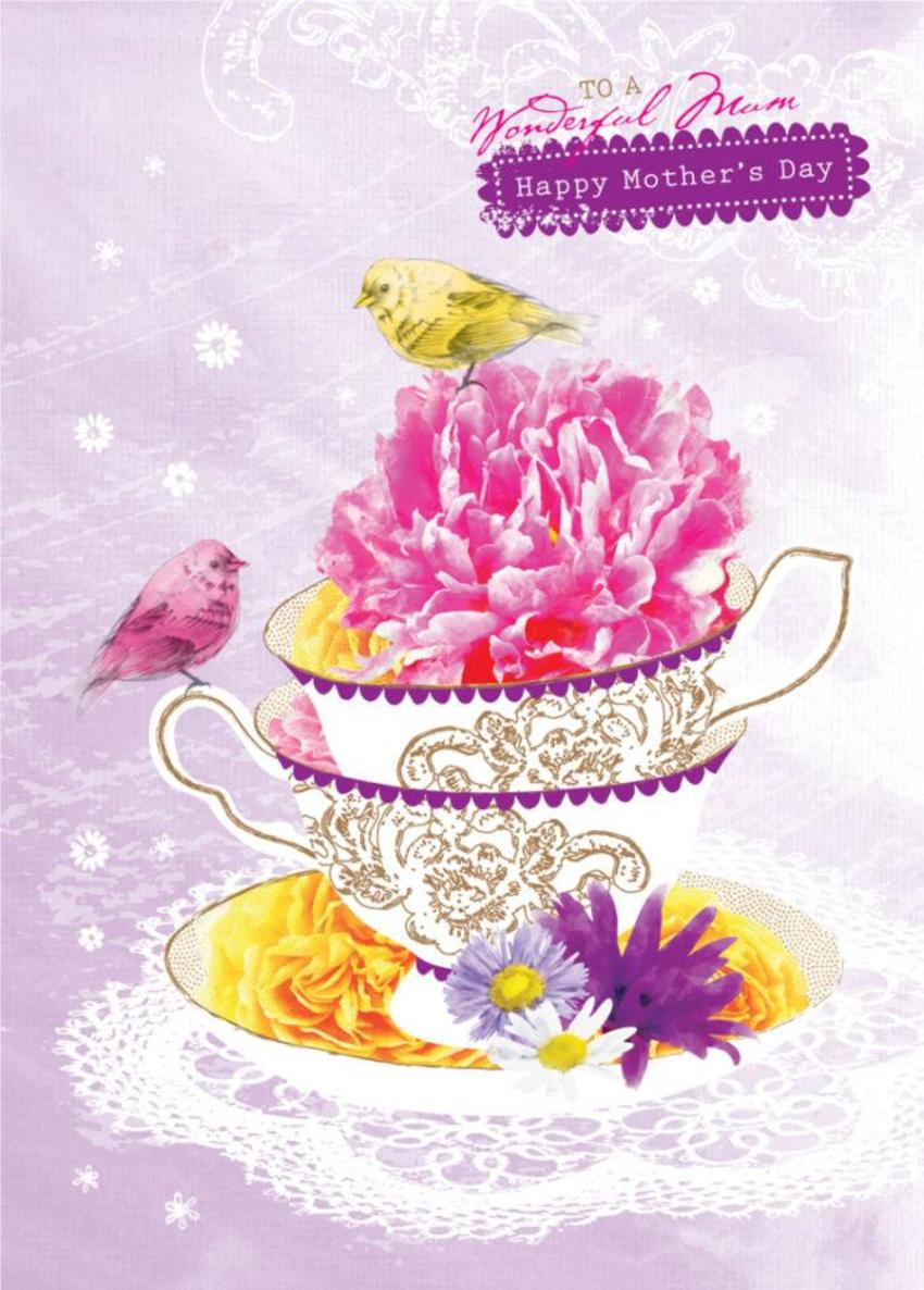 Female Birthday Mothers Day Get Well Floral Birds On Teacup With Flowers