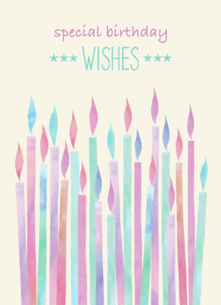 Watercolour Candles Birthday