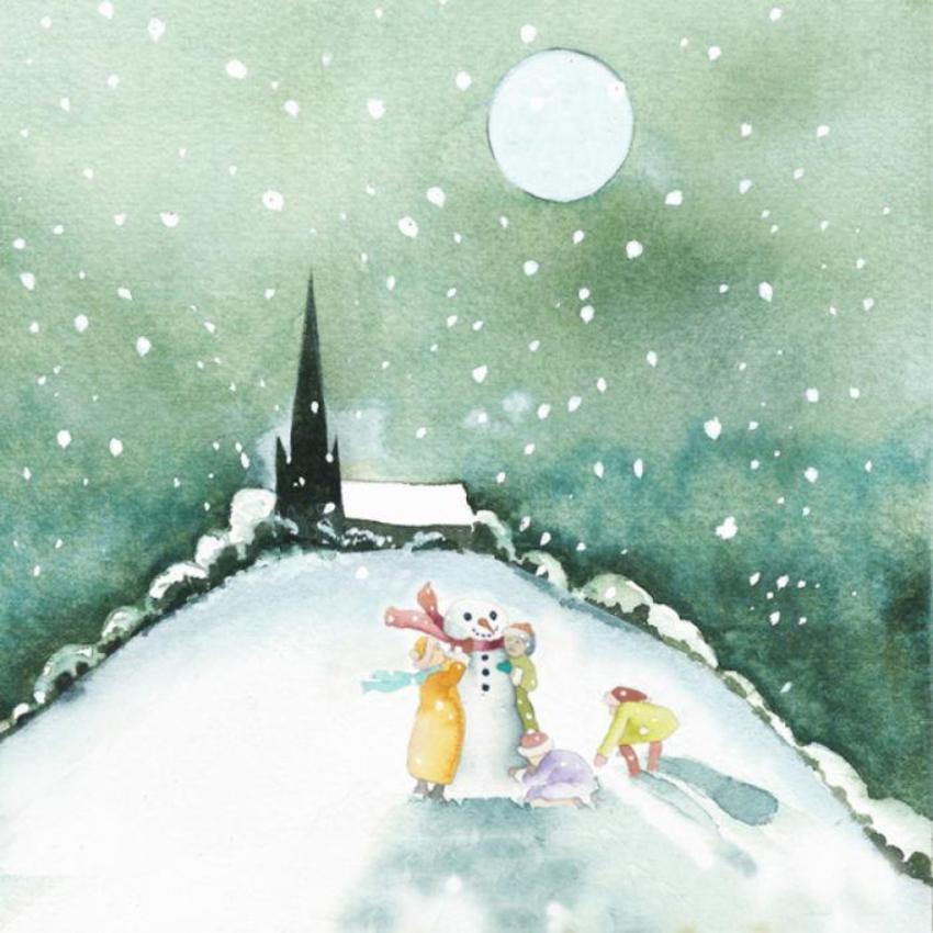 Christmas Chidren Building Snowman