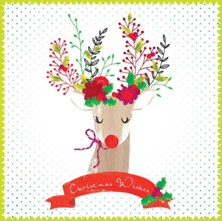 Christmas Reindeer Rudolf With Flower Antlers