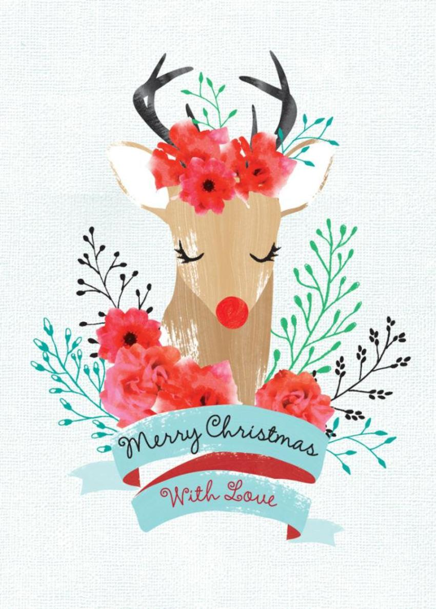 Christmas Reindeer Rudolf With Flower And Banner