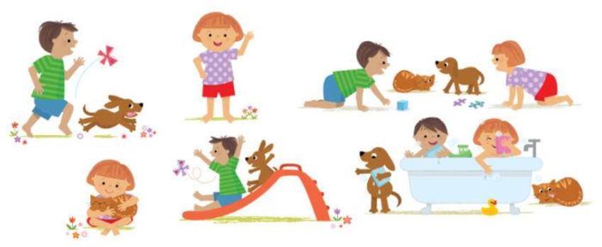 ACW Children Bodies Play Actions Cat Kitten Dog